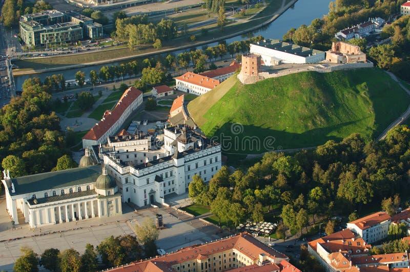 Vilnius, Lithuanie Château supérieur gothique Cathédrale et palais des ducs grands de la Lithuanie photos libres de droits