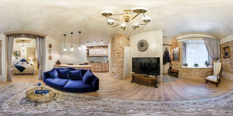 VILNIUS, LITOUWEN - MAG, 2019: volledig naadloos sferisch hdripanorama 360 van de hoekgraden mening in binnenlandse guestroom en  royalty-vrije stock foto's