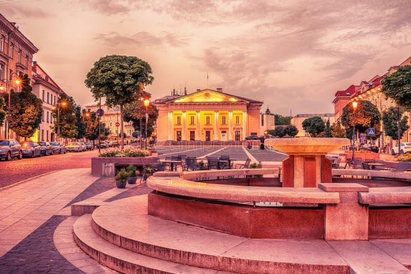Vilnius, Lituânia: a câmara municipal, rotuse de Vilniaus do Lithuanian, no quadrado do mesmo nome fotografia de stock