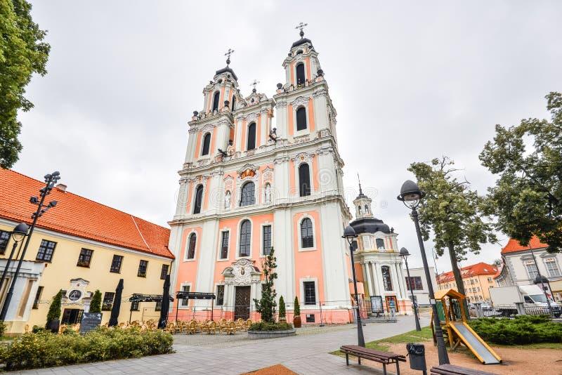Vilnius, Lituania, bella vecchia chiesa della st Catherine, immagine stock libera da diritti