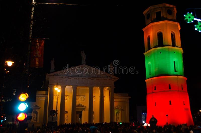 Vilnius, Lituania, il 16 febbraio, festa dell'indipendenza fotografia stock