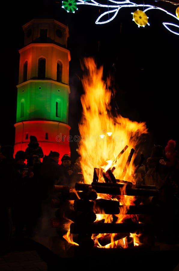 Vilnius, Lituania, il 16 febbraio, festa dell'indipendenza immagini stock libere da diritti