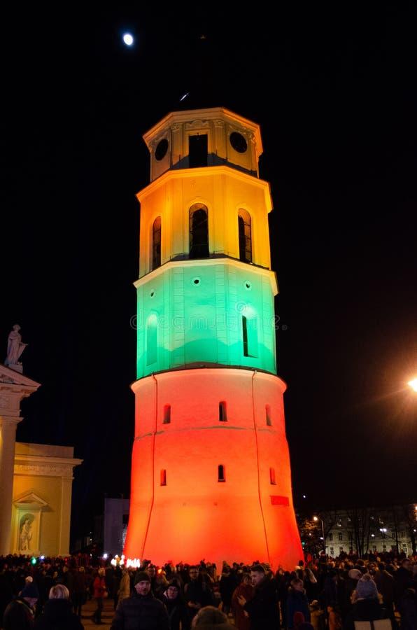 Vilnius, Lituania, il 16 febbraio, festa dell'indipendenza fotografie stock libere da diritti