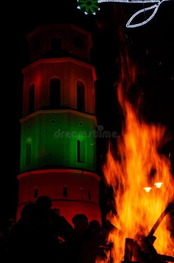 Vilnius, Lituania, il 16 febbraio, festa dell'indipendenza fotografia stock libera da diritti