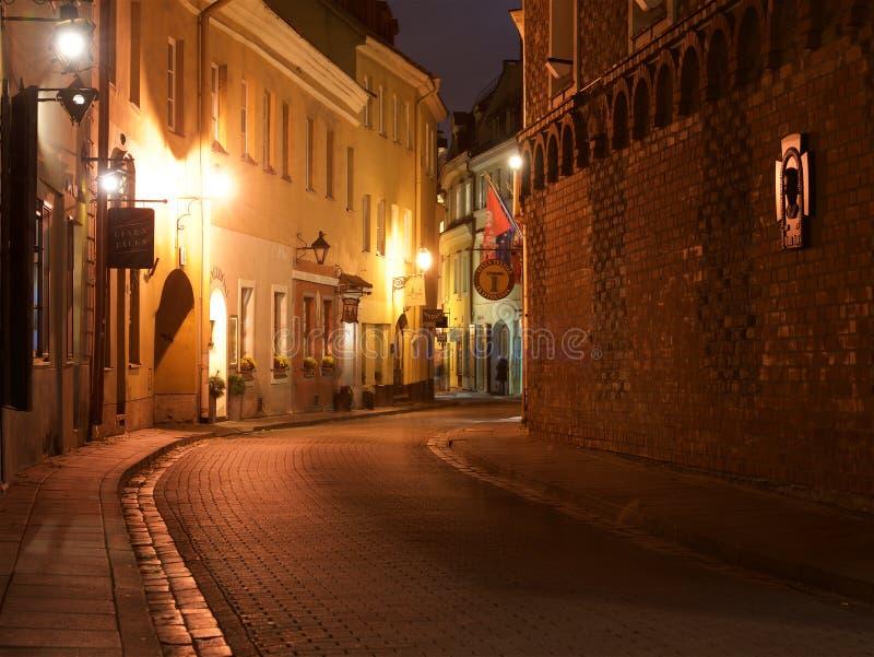 Vilnius, Lituania - 7 novembre 2017: Vista di notte di vecchia città a Vilnius il 7 novembre 2017 Vecchia città di Vilnius, Litua fotografie stock libere da diritti