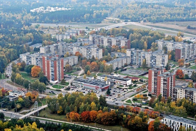 Vilnius miasta widok z lotu ptaka - Litewski kapitałowy ptak zdjęcia stock