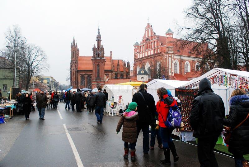 Vilnius miasto w rocznym tradycyjnym rzemiosło jarmarku: Kaziukas jarmark fotografia royalty free