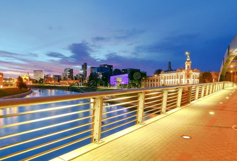 vilnius Mindaugasbrug over Neris royalty-vrije stock foto's