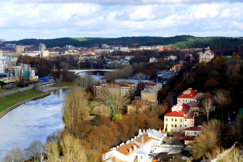 Vilnius, Neris river. Travel to Vilnius, Lithuania and enjoying architecture panorama stock images