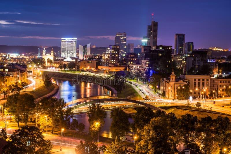 Vilnius night scene. From Gediminas tower. It's seen skyscrapers, Mindaugas bridge and the river Neris