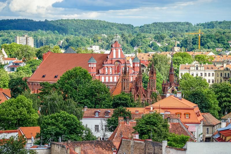 Vilnius old town aerial panorama with churches - Bernardine and St. Anne`s royalty free stock image