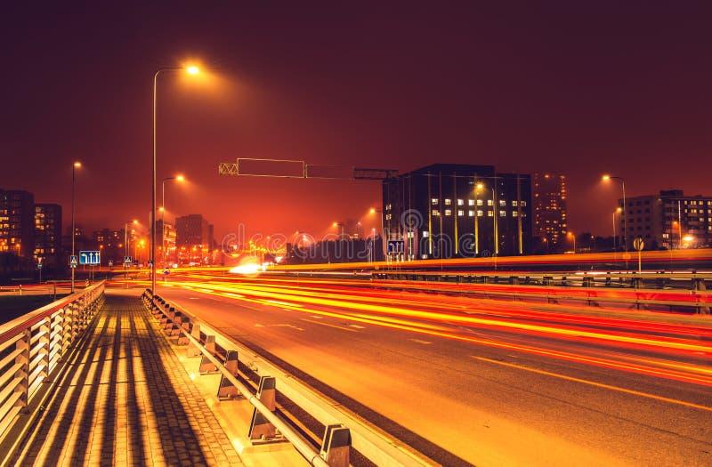 Vilnius road night scene stock image