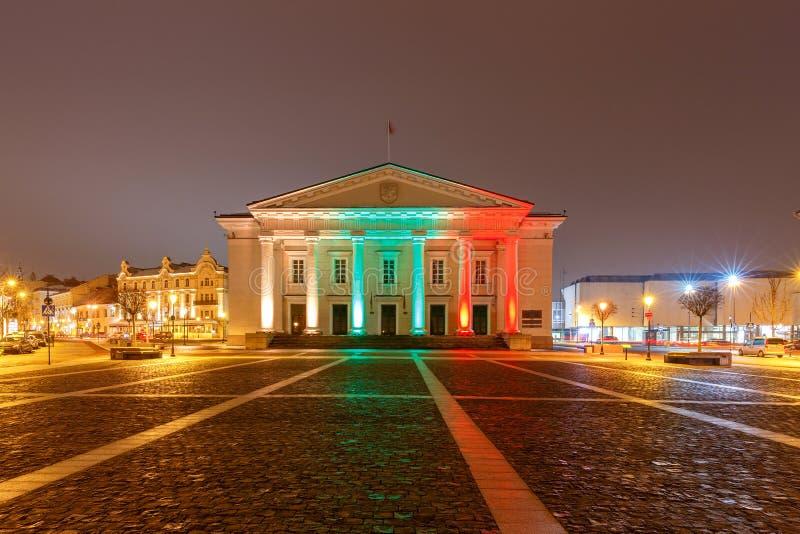 vilnius Stadhuis bij nacht stock afbeeldingen
