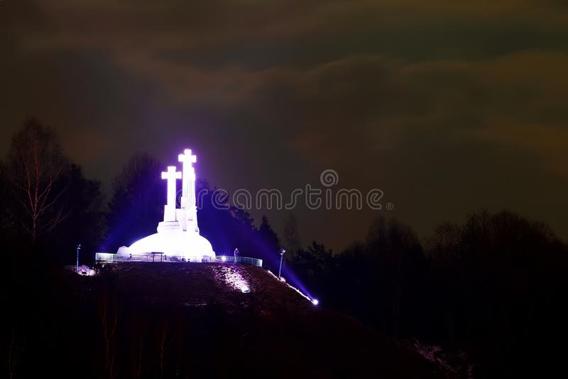 Vilnius-Winter-Panorama von Gediminas-Schloss-Turm zu drei croses Hügel stockbilder