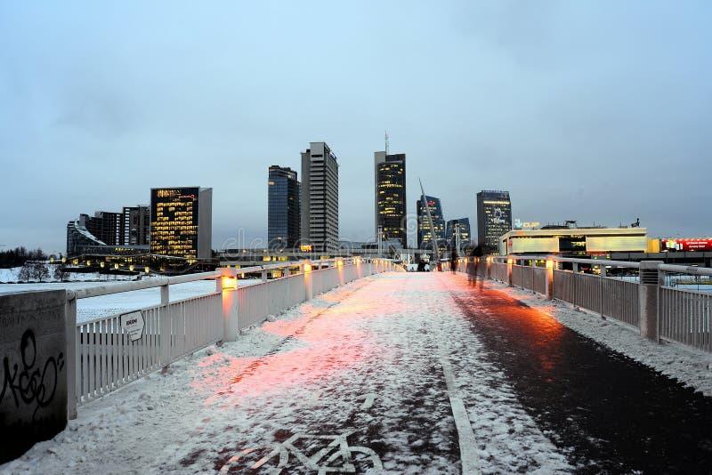 Vilnius zimy drapaczy chmur ranku czasu panorama fotografia royalty free