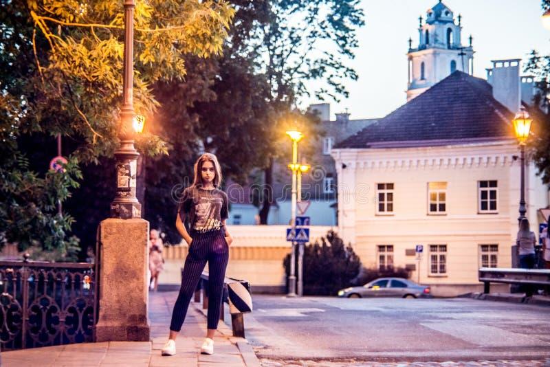 Vilniusstad en het leuke meisje stellen stock afbeelding