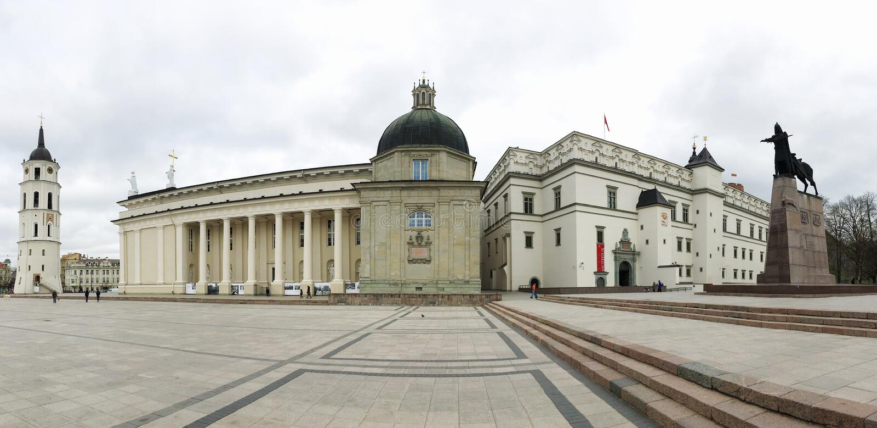 Vilnus/Lithuania/04 04 2019/ Palast der Großherzöge von Litauen, Vilnus, Litauen, breites Panorama lizenzfreie stockfotografie