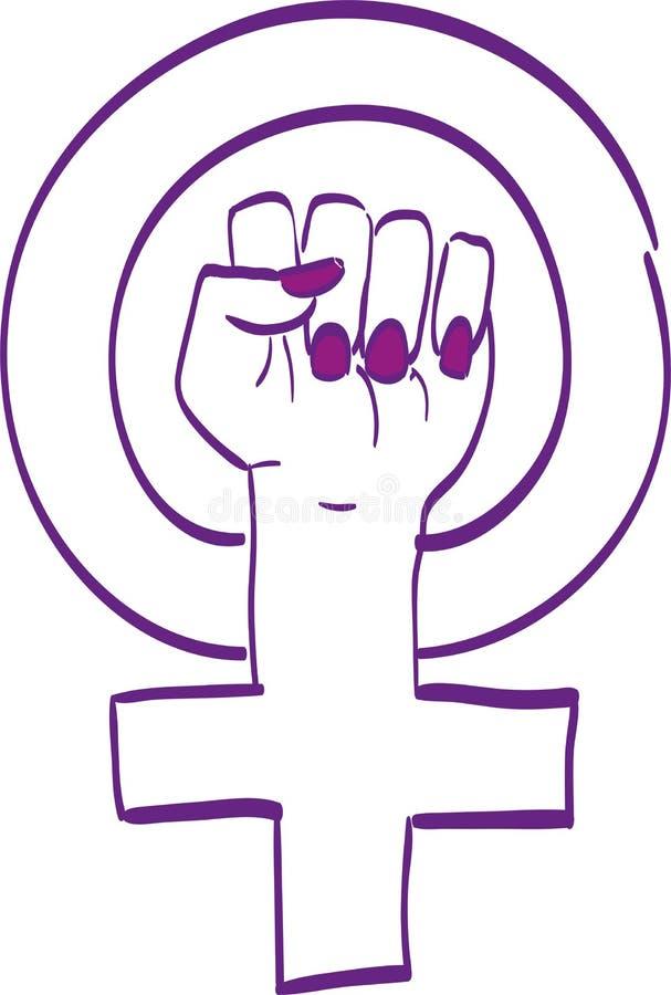 Vilote Feminis symbol vektor illustrationer