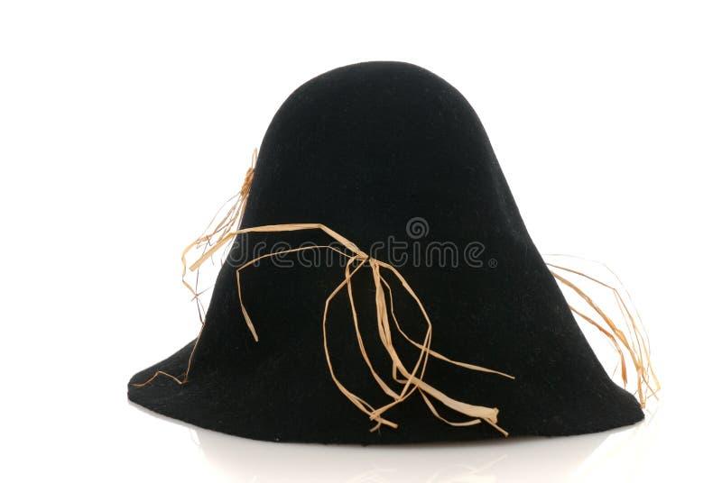 Vilten van de vogelverschrikker zwarte hoed met wat stro royalty-vrije stock foto