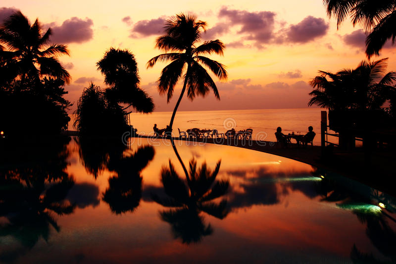Vilureef ö i Maldiverna arkivfoto