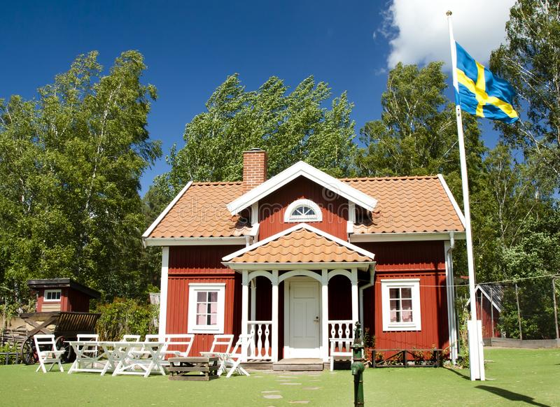 VIMMERBY SVERIGE - Juni 19, 2018 - världen för Astrid Lindgren ` s, Astrid Lindgrens Varld är ett nöjesfält Hus för Emil ` s arkivfoton