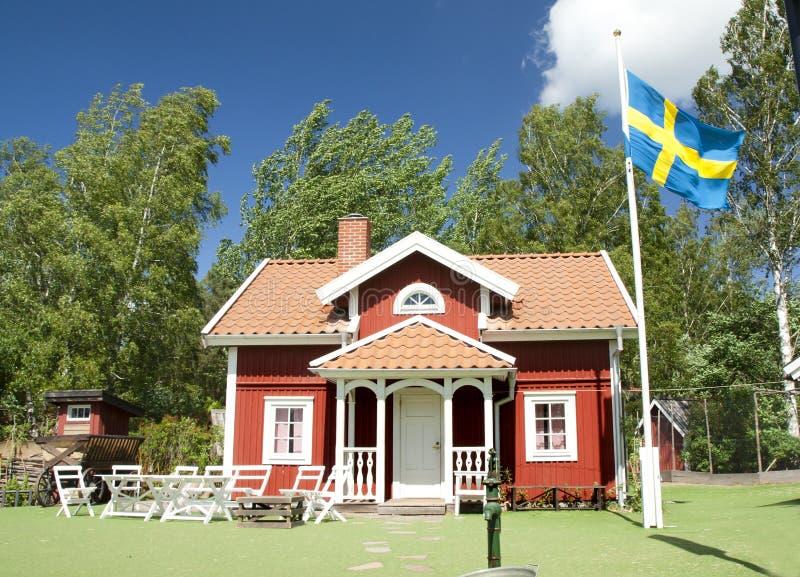 VIMMERBY SVERIGE - Juni 19, 2018 - världen för Astrid Lindgren ` s, Astrid Lindgrens Varld är ett nöjesfält Hus för Emil ` s arkivbilder