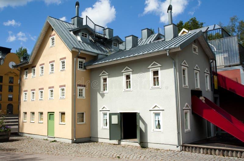 VIMMERBY SVERIGE - Juni 19, 2018 - världen för Astrid Lindgren ` s, Astrid Lindgrens Varld är ett nöjesfält Hus för Karlsson ` s royaltyfri bild