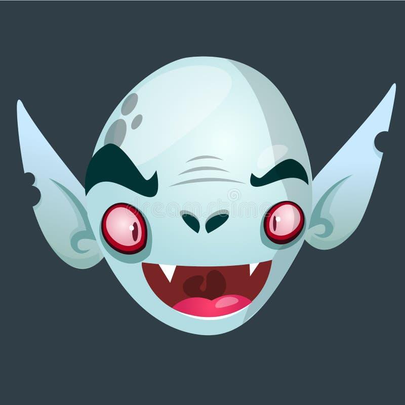 Vimpire charakteru ikona Halloweenowa Dracula głowy ikona Wektorowa ilustracja usolated na ciemnym tle ilustracji