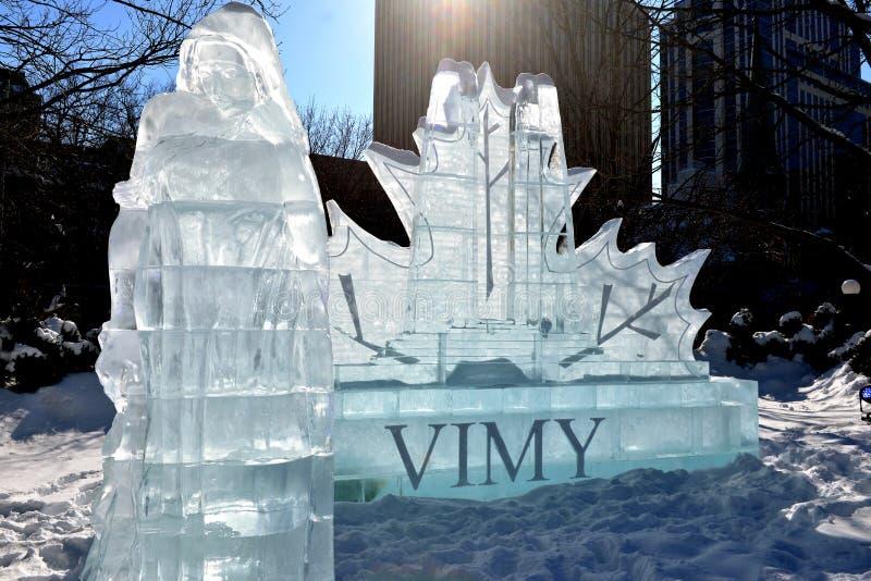 Vimy Ridge Ice Sculpture bei Winterlude lizenzfreies stockfoto
