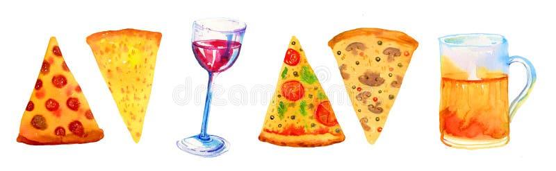 Vin, öl, blandad dragen vattenfärguppsättning för pizza hand för affischer och kort vektor illustrationer