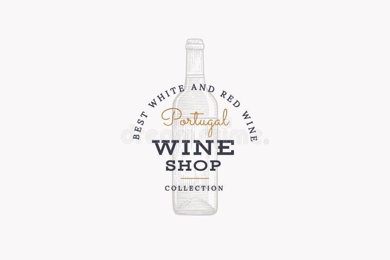 Vin av Portugal Vektorlogo av vinlagret med bilden av vinflaskan på vit bakgrund vektor illustrationer