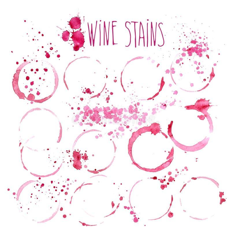 Vin befläcker vektorvattenfärgillustrationen Vin plaskar och fläckar som isoleras på vit bakgrund vektor illustrationer