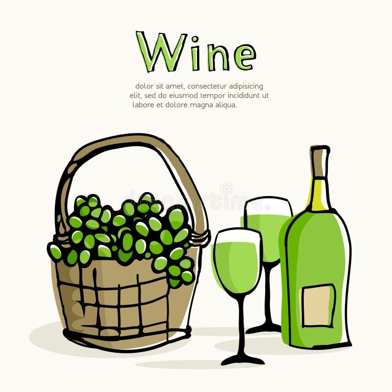 Vin blanc et raisins verts dans le panier en osier illustration libre de droits
