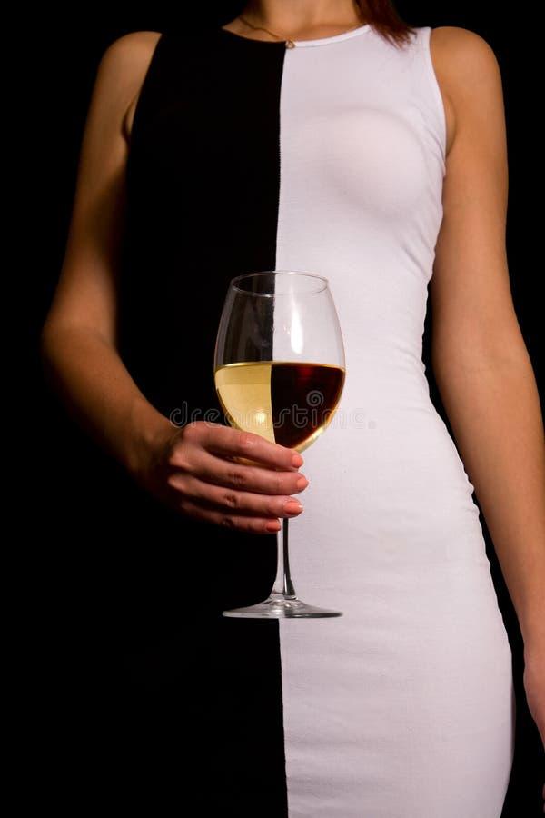 Vin blanc noir photographie stock