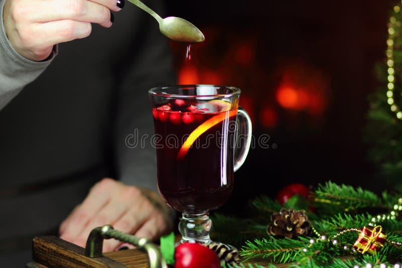 Vin brulé con i mirtilli rossi ed il limone fotografia stock libera da diritti