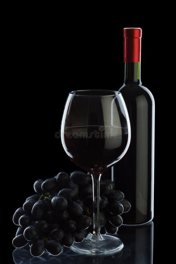 vin d'isolement par raisins de bouteille images libres de droits