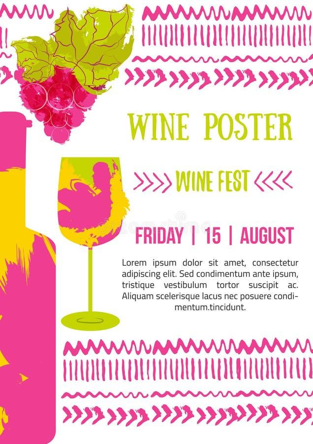 Vin de bouteille et affiche de raisins Le vecteur avec la couleur éclabousse illustration libre de droits