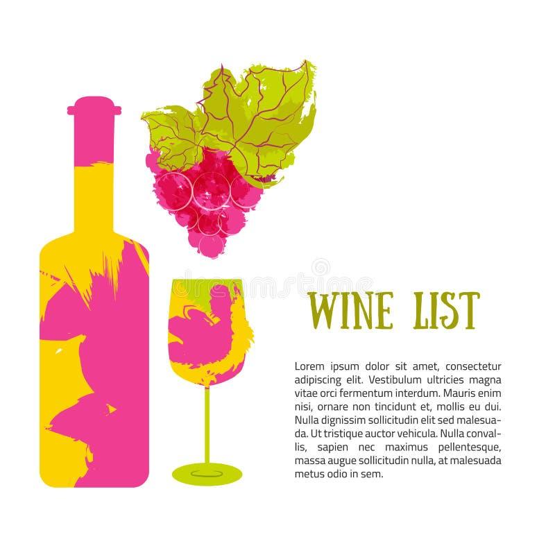 Vin de bouteille et bannière de raisins Le vecteur avec la couleur éclabousse illustration libre de droits