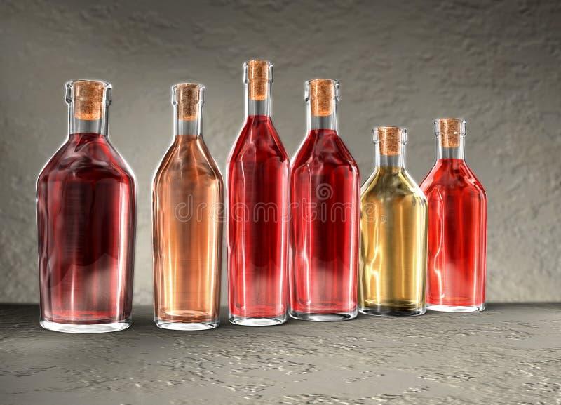 vin de bouteilles illustration stock