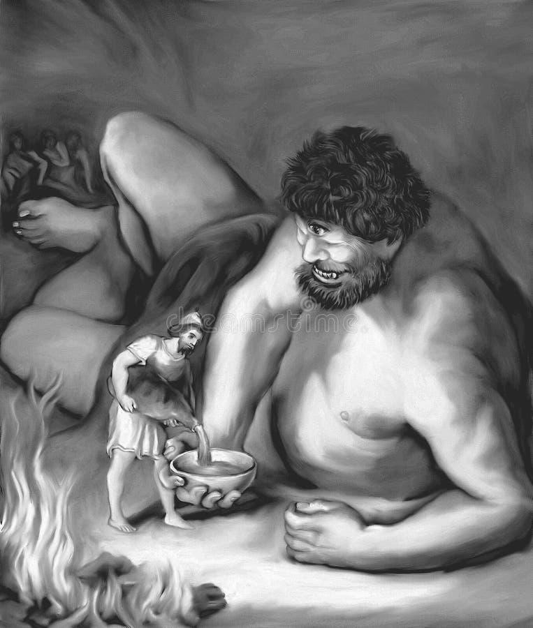 Vin de versement d'Ulysse dans la cuvette géante noire et blanche illustration stock