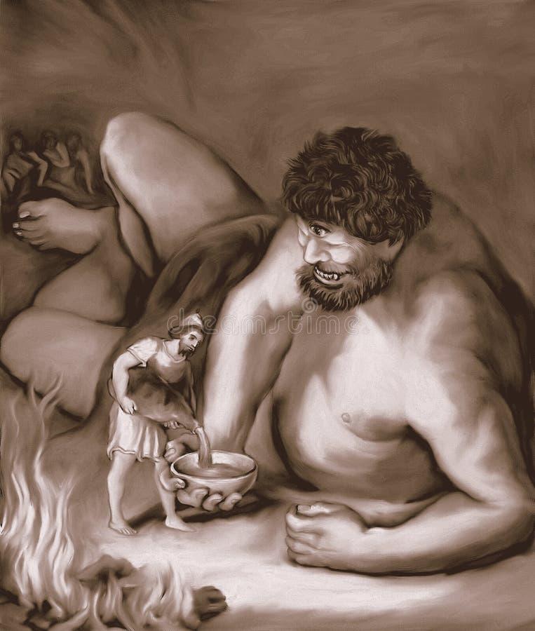 Vin de versement d'Ulysse dans la sépia géante de cuvette illustration libre de droits