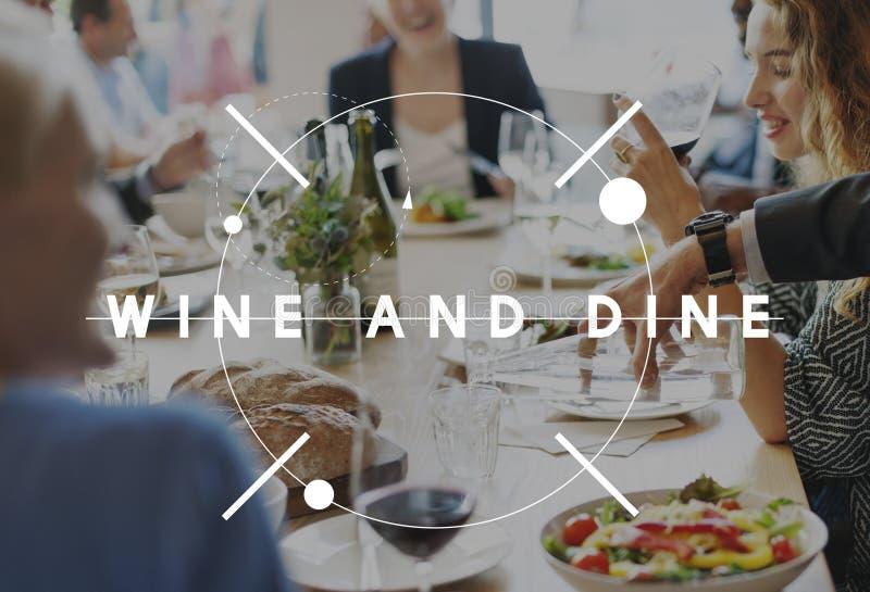 Vin Dine Drinking Food Beverage Concept arkivfoton