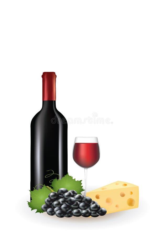Vin, druva och ost vektor illustrationer