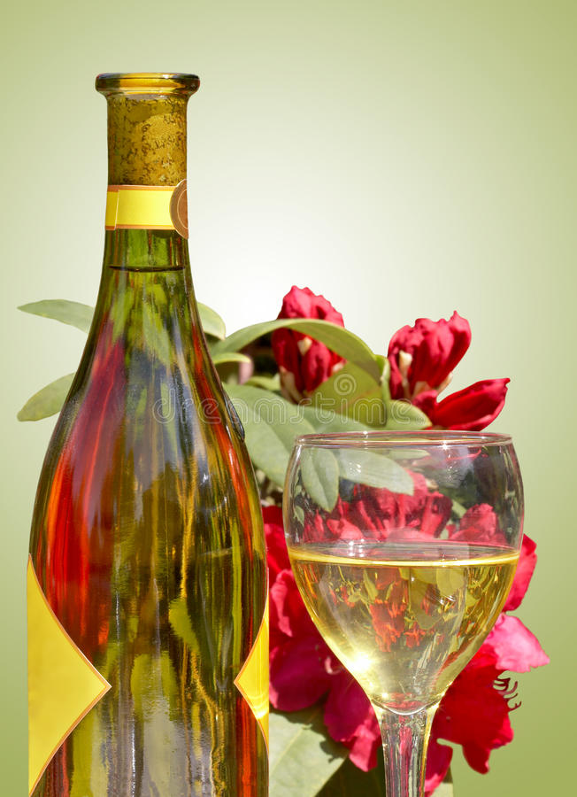 Vin et fleurs photographie stock libre de droits