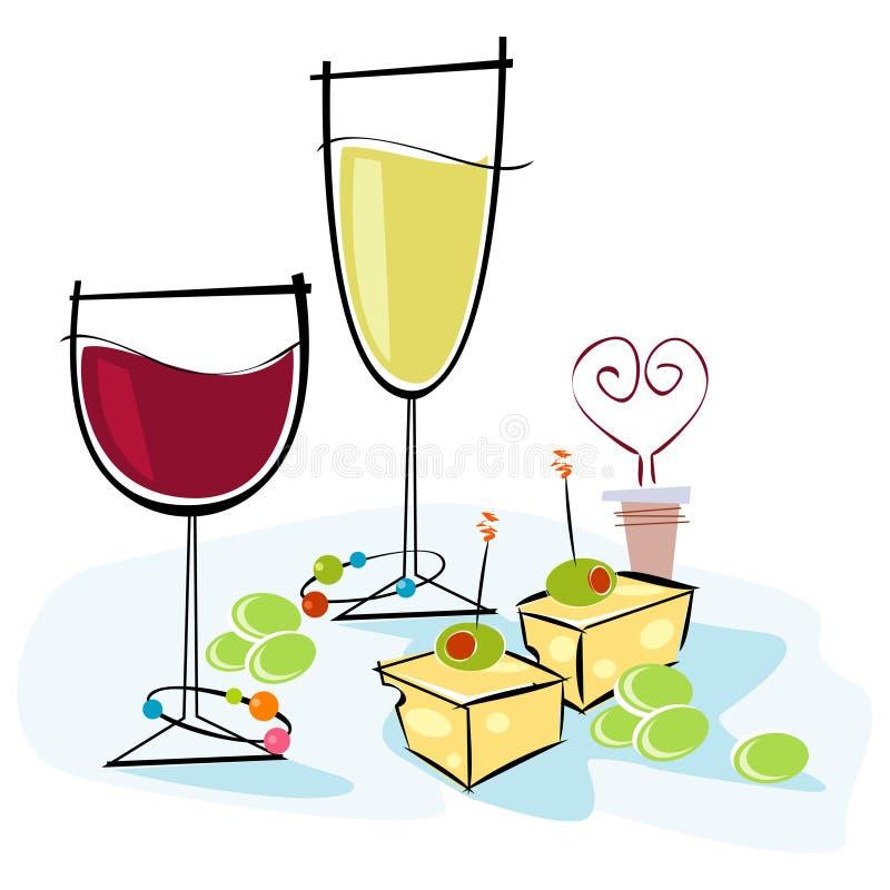 vin et fromage de Rétro-type illustration libre de droits