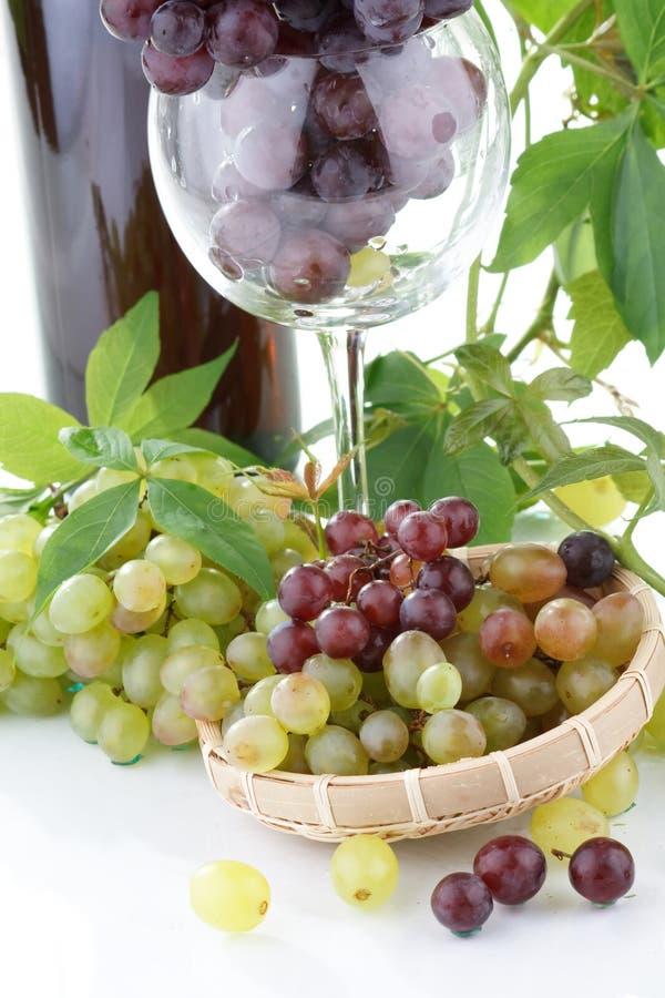 Vin et jeune raisin photo stock