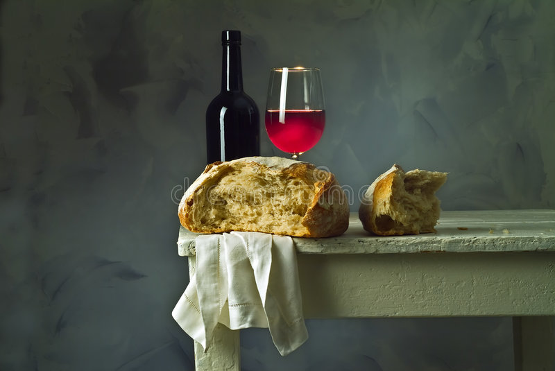 Vin et pain images stock