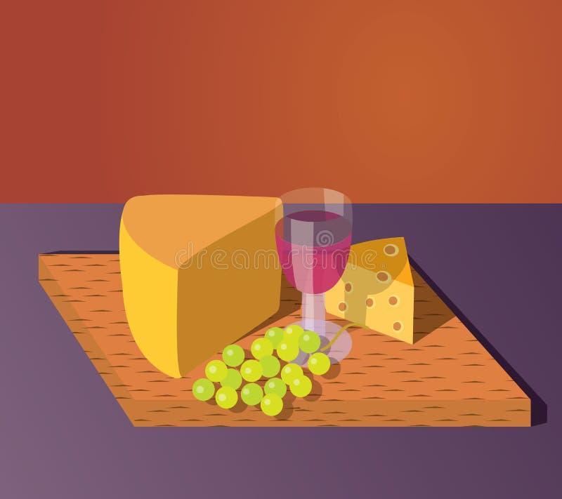 Vin et raisins de Chesse illustration de vecteur