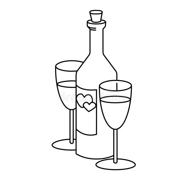 Vin et verre à vin de couples, Saint Valentin heureux illustration de vecteur