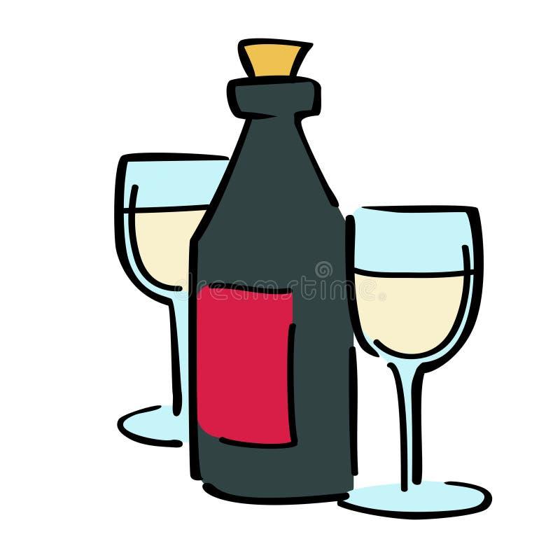 Vin et verre à vin de couples, Saint Valentin heureux illustration stock